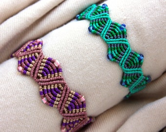 Macrame zig zag wave and triangle bracelet
