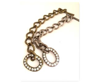 silver and gold rhinestone toggle chain linked bracelets x (2) animal rescue fundraiser