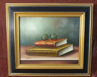 Beautiful Still Life Painting of Books and Glasses