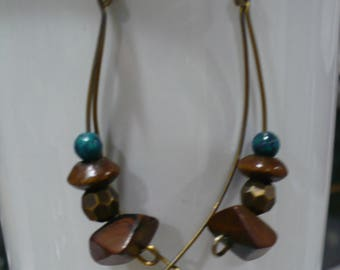Stone and glass dangle earrings