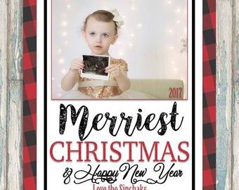 Christmas Card - Buffalo Plaid Holiday Greeting - Merriest Christmas & Happy New Year - Family Seasons Greetings Card - Printable