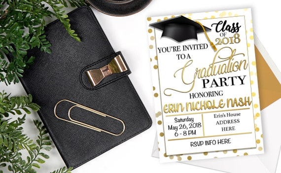 2018 Graduation Invitation Party Announcement Save The Date Gold Black And Silver Digital Download Printable Invitation