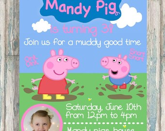 Peppa Pig Party Invite - Peppa Pig Muddy Puddles Invitation - Peppa Pig Birthday - Customized Peppa Invite with picture - Boy or Girl