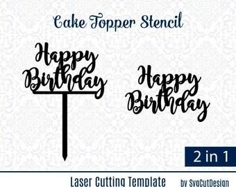Happy Birthday DIY Wood Coaster Stencils Cake Small Topper Laser Cutting Die Cut Template Cricut Silhouette Studio Party Acryl Stencil