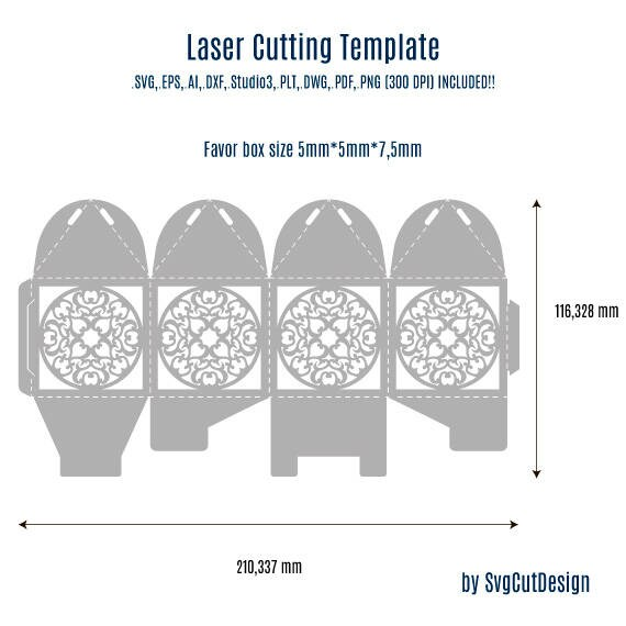 lace wedding favor box template laser cutting commercial use etsy