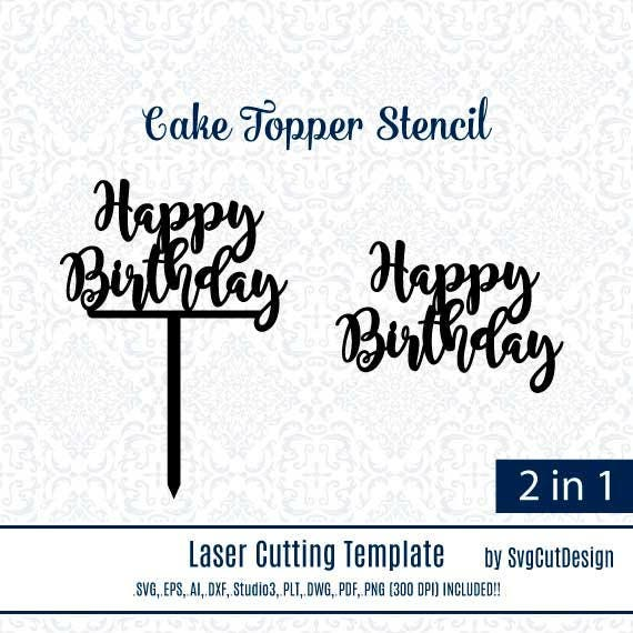 Happy Birthday DIY Wood Coaster Stencils Cake Small Topper