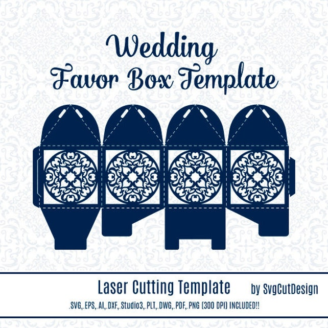 Lace Wedding Favor Box Template Laser cutting Commercial Use | Etsy