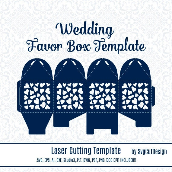 wedding favor box template laser cutting heart commercial use etsy