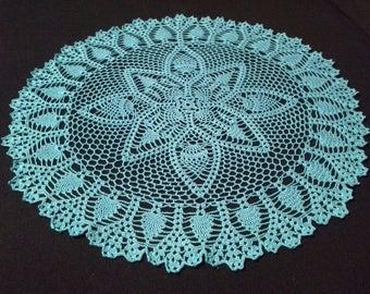 Crochet doily - Round doilies - Large doily - Blue doily - Home decor - Crochet doilies