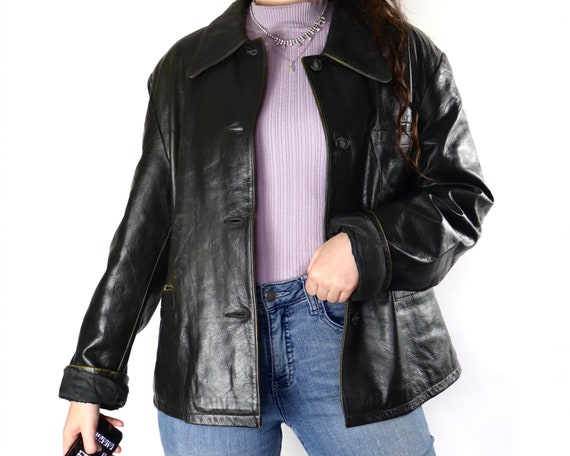 Vintage black button up collared leather jacket
