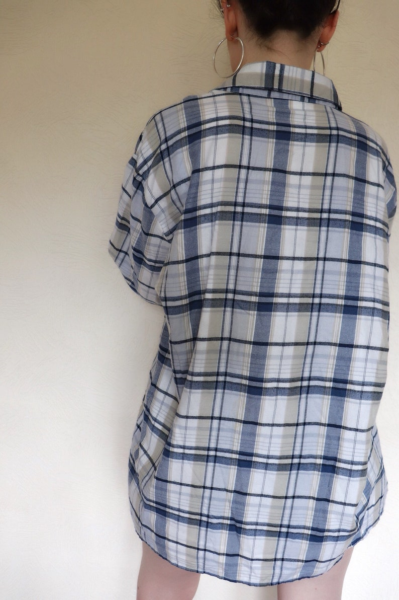 Vintage oversized blue white plaid checkered festival shirt blouse