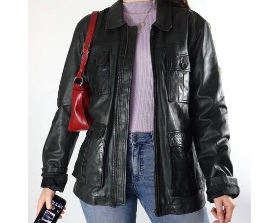 Vintage black zip up leather jacket