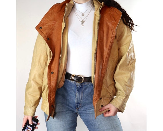 Vintage yellow and brown bomber leather jacket