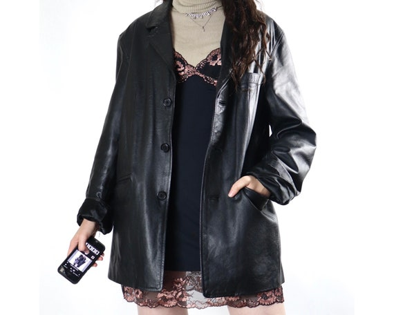Vintage black button up blazer style leather jacke