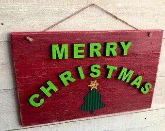 Merry Christmas Door Sign, Outdoor Christmas Decor