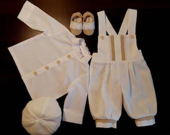 Natural linen boy outfit, Baptism romper, Christening suit, Boy costume, Infant Boys outfit, Linen pants, Vintage look Newborn