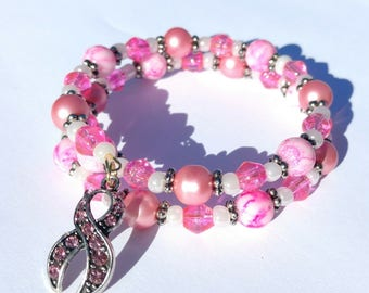 Breast Cancer Awareness, Memory Wire Bracelet, Gift, For Her