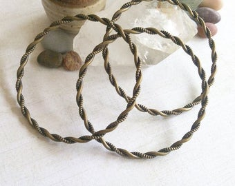 Spiral Twist Boho Brass Bangle M05