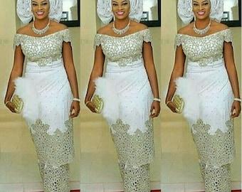 1e7e9c4f8d077c White Beautiful Heavy beaded Wedding VIP Madam Silk George Wrapper