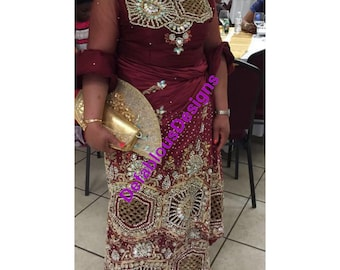 184600beb13c26 Nigerian traditional Heavy Beaded George wrapper Stone Silk Indian George  Fabric Lace with Blouse Fabric VIP Madam Silk George Wrapper