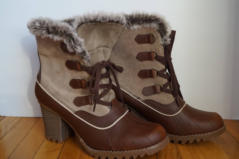 e21d8d4024bb9 Skechers lady women's LEATHER brown high heel grunge winter snow faux fur  lace boots eu 40 / uk 7 / us 10