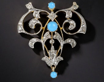 d09f6e27e Vintage Antique Brooches Rose Cut Diamond Turquoise 925 Sterling Silver  Wedding