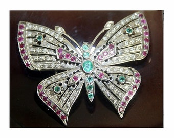 5ceb46598 Antique Victorian Brooch 1.20Ctw Rose Cut Diamond Ruby/Emerald Butterfly  Wedding