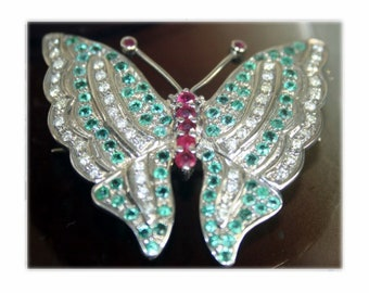 3dcd5b05d Antique Brooch Pins 1.02Ct Rose Cut Diamond Gemstone Butterfly Wedding