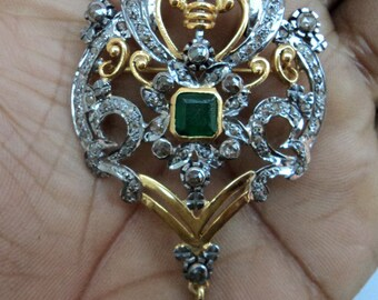 a79413784 New Antique Victorian 1.52Ctw Rose Cut Diamond Emerald 925 Sterling Silver  Gift For Christmas Handmade Pendant/Brooch