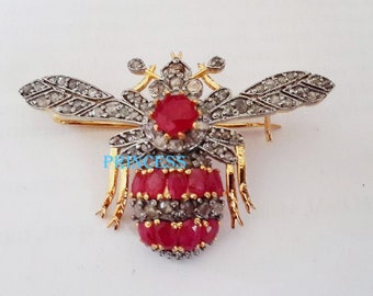 98b1bf6aa Honey Bee Antique Rose Cut Diamond 925 Sterling Silver Ruby Victorian  Handmade Brooch