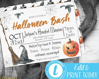 Halloween Invitation Instant Download, Printable Halloween Party Invitation Watercolor, Halloween Invitation for Adults, Digital Download