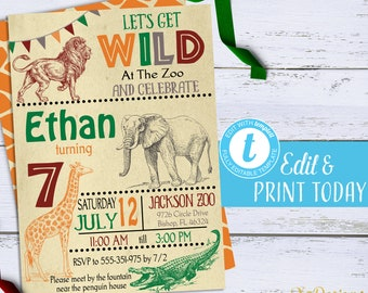 Zoo Invitation Jungle Birthday Party Printable Safari First Invite Digital Editable Template