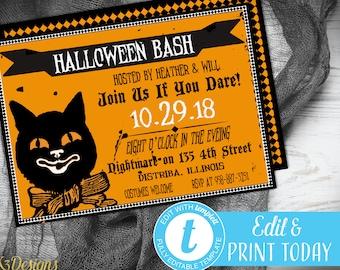 halloween invitation instant download printable halloween etsy