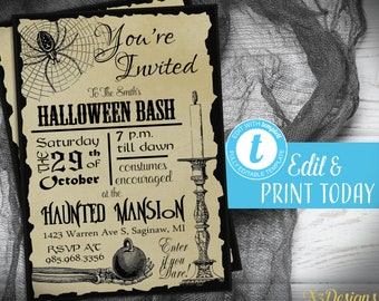 graphic about Free Printable Halloween Invitations for Adults titled Halloween invitation Etsy