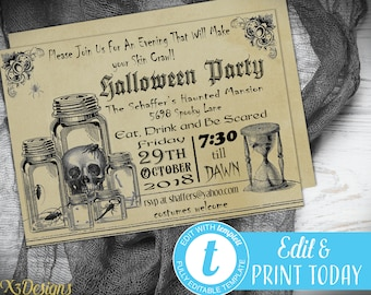 Halloween Party Invitation Instant Download, Printable Halloween Invitation, Vintage Halloween Invitation for Adults, Digital Download