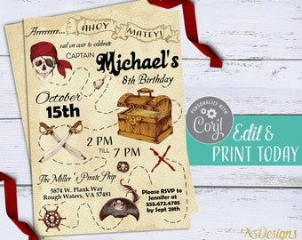 Pirate Invitation Instant Download Birthday Treasure Map Digital Kids Party Invite Printable