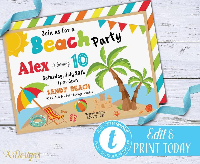 Beach Birthday Invitation Instant Download Summer Party Digital Kids Invite