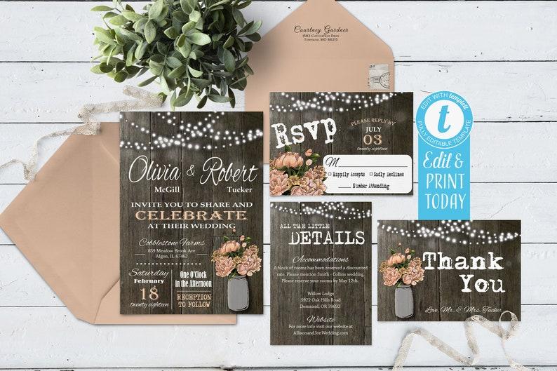 Rustic Wedding Invitation Mason Jar Wedding Invitations Rustic Wedding Invitation Suite Digital File