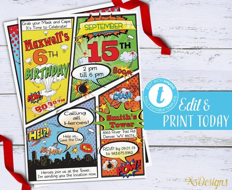 Comic Invitation, Superhero Birthday Invitation Instant Download, Comic  Book, Kids Sixth Birthday Invite Printable Editable Template
