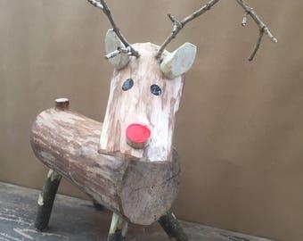 Wooden log Reindeer, Rudolph, Rudolf, Christmas Decoration
