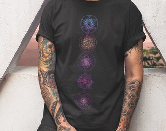 Sacred geometry Symbols With Flower of Life Gradient Colors   Psychedelic Artwork   Intricate Geometry   Spiritual Clothing   Unisex T-Shirt