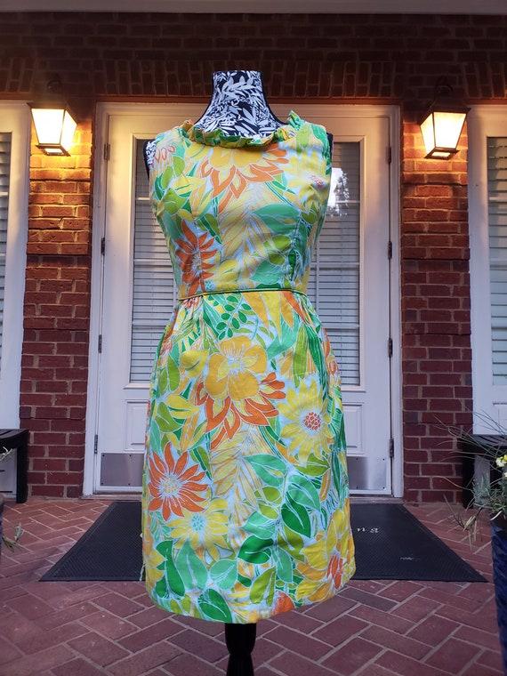 Vintage Floral Mini Dress 70s - image 4