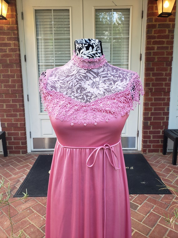 Vintage 70s Pink Gown