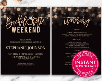 Bachelorette Party Invitations With Itinerary Invite Weekend Invitation Template