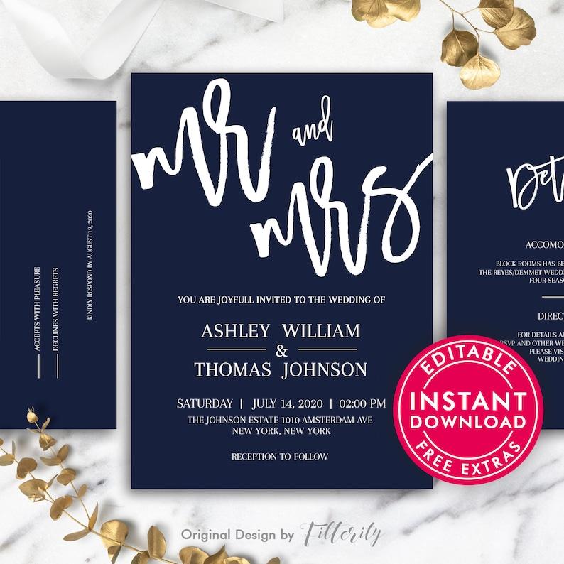 Templates Navy Blue Printable Wedding Invitation Simple Wedding Invitation Template Wedding Invites Wedding Invitation Template Download