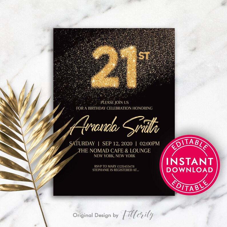 21st Birthday Party Invitations Birthday Invitations Birthday Invitation Template Printable Birthday Invitation Editable Invitation