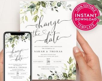 Change The Date, Save The Date, Change The Date Template, Save The Date Cards, Save The Dates, Save The Date Postcard, Digital Download