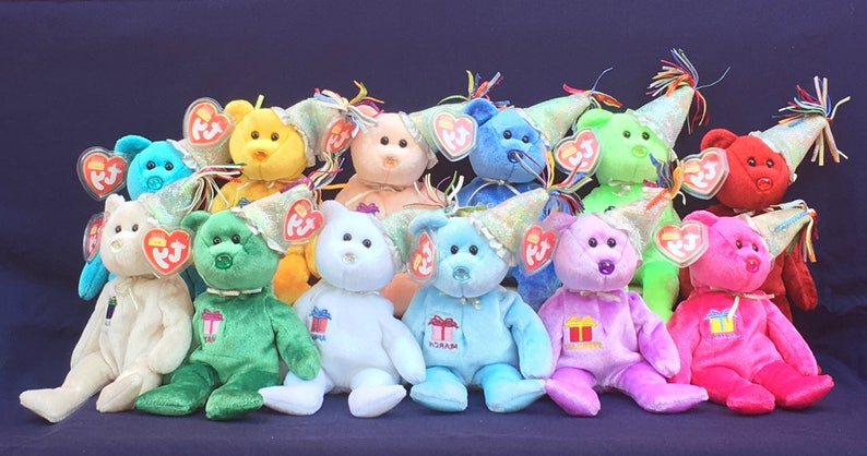 TY Beanie Babies Birthday Beanies Collection Set of 12  3ab5f732bc7