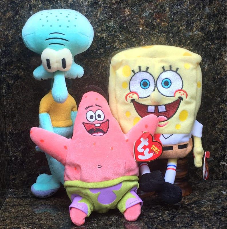 TY Beanie Baby, SpongeBob Squarepants, Squidward Tentacles, & Patrick Star  (Set of 3)