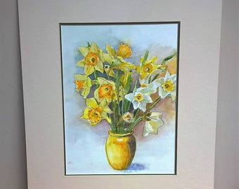 Original watercolour of Daffodils in a yellow vase.